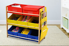 3 TIER 9 CANVAS BOXES DRAWERS STORAGE CHILDREN KIDS BABY TOYS TIDY SHELF UNIT