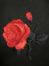 "3-1/4"" Red Rose Flower Embroidery Iron On Applique Patch"