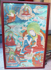 Ancienne Thangka Tibet 19e Antique grande Tanka Thanka Tangka Gelugpa Bouddhisme