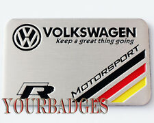 Brushed Aluminium Volkswagen VW R Motorsport Keep a Great Thing Going Car Badge