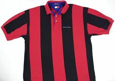 VINTAGE 90S TOMMY HILFIGER MENS POLO L FLAG BLACK RED STRIPE