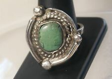 Southwestern Rough Hewn Artisan Silver Creamy Green Stone Roped Ring Sz 11