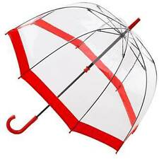Birdcage Red Trim - see through PVC dome umbrella