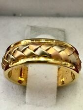 18k solid 3 tone white yellow rose gold band ring  size 5 braided weave 6mm