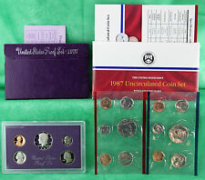 1987 Proof and Uncirculated Annual US Mint Coin Sets PDS 15 Coins