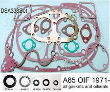 BSA a65 71-72 Gasket Kit & oil seal Kit jeu joints étanchéité également avec vagues dense anneaux