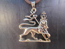 Rasta Lion, Lion of Judah Gold Tone Pewter on Brown Cord Necklace #SHIP449B