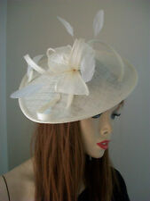 Cream Ivory Hatinator Wedding Fascinator Saucer Hat Formal Pastel Races Disc