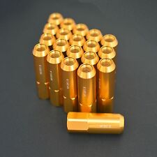 GOLD 20PCS ALUMINUM EXTENDED TUNER LUG NUTS 60MM FOR WHEELS/RIMS M12X1.5