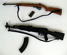 Lot of 2 Toy Firearms 1:6 Scale Action Figure Gun WWII M1 Rifle Carbine and AK47