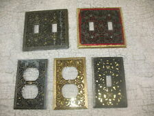Vintage LOT OF  5 Light Switch Plate & OUTLET COVERS Filigree Metal PATINA ~14A7