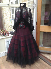 WHITBY GOTH STEAMPUNK VICTORIAN BLACK & RED NET MAXI SKIRT FREESIZE (1769)