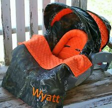 Mossy oak camo and orange minky infant car seat cover and hood cover w/ blanket