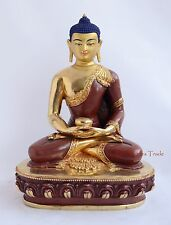 "11"" Amitabha Buddha Gold Gilded Face Painted Copper Statue From Patan, Nepal"
