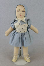 """15"""" old vintage 1940s artist cloth rag doll w hand drawn painted face"""