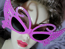 Big PINK Butterfly Novelty PARTY GLASSES WITH BLING EYES Halloween Fun NIP