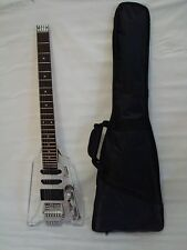 6 String Clear Body Lucite Electric Guitar, Headless With Free Gig Bag - New