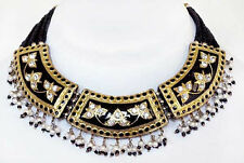 Artisan Crafted, Black & Gold Lakh Necklace & Earrings from India