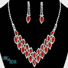 STRIKING CLEAR & COLOR CRYSTAL PROM WEDDING FORMAL NECKLACE JEWELRY SET CHIC