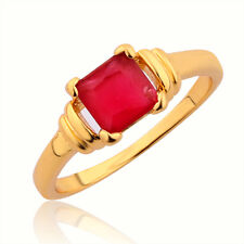 Charming Women Engagement Ring 24K Gold Plated Oval Ruby Fashion Jewelry Size O