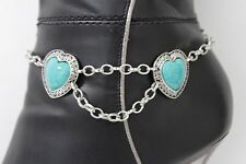 Women Silver Chain Boot Bracelet Anklet Heel Shoe Blue Hearts Bead Charm Jewelry