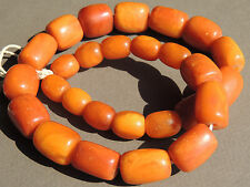 Antique Natural Butterscotch Amber Barrel Beads for Necklace 67 grams