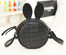 Cute Women Bunny Rabbit Ear Round Handbag Shoulder Messenger Mini Bag PU Leather
