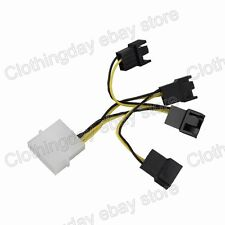 Molex 4Pin Male Convert to 4x Male 3Pin PC Fan Y Splitter Extension Cable Cable