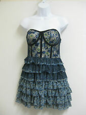 NWT Forever 21 Dress Strapless Blue Navy Gray Lace Floral Ruffles Cocktail M