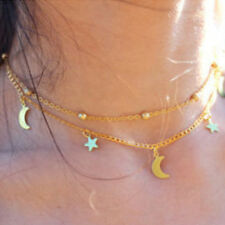 Women's Two Layers Chain Star & Moon Charms Choker Necklace Fashion Jewelry Gift
