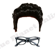 MENS TEDDY BOY 1950S BLACK WIG & CHIC GLASSES FANCY DRESS COSTUME
