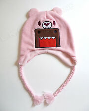Pink DOMO Monster Laplander Winter Hat Teddy Bear Braids 3-5 Years OSFM NWT CUTE