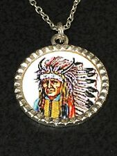 "Tribal Indian Chief Charm Tibetan Silver with 18"" Necklace"