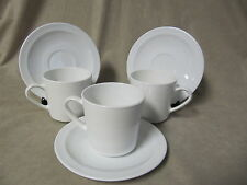CORNING CENTURA WHITE NARROW RIM CUP AND SAUCER SETS IN VERY GOOD CONDITION