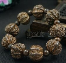 Chinese Manual Sculpture Natural Sandalwood Walnut 18MM Men Prayer Bead Bracelet