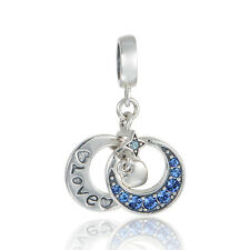 SC Double Moon with Dangling Heart Engraved Pendant Charm 925 Sterling Silver