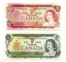 2 different Canada paper money $1 1973 Au-Unc. & $2 1974 Au-Unc.
