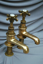 BATH TAPS ANTIQUE ORIGINAL PATINA BRASS BATHROOM TAPS RECLAIMED & REFURBISHED