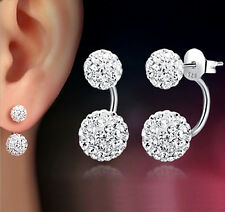 New 925 Sterling Silver Plated Double Beads Crystal Shamballa Stud Earrings