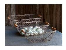 FRENCH FARMHOUSE WIRE RECTANGLE GATHERING BASKET~Large