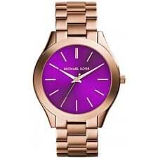Michael Kors MK3293 Rose Gold Slim Runway Purple Face Women's Watch