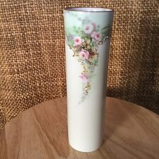 Stunning Vintage BAVARIA Porcelain Vase With Handpainted Spray Of Roses Germany