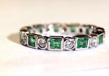 Fine Diamond and Colombian Emerald 14K White Gold Eternity Ring Band Size 6.75