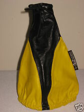 UNIVERSAL FIT MANUAL SHIFT BOOT COVER 100% GENUINE LEATHER YELLOW & BLACK ALPENA
