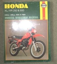 Haynes Workshop Manual for HONDA XL XR XL250 XR250 XL500 & XR500 1978 to 1984