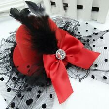 Lovely Bow Women Hair Clips Lace Feather Mini Top Hat Fascinator Fancy Party Cap