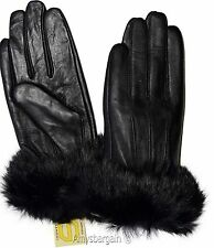 Leather Gloves. Real Fox fur. Size medium. Women's Gloves. Ladies' winter gloves