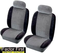 ROBIN RELIANT Velour Fabric Universal Front Car Seat Covers in GREY & BLACK