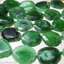 Green Agate 38-48mm Large Flat Oval Nugget 3 Beads Focal Pendant Statement