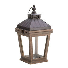 Bungalow Candle Lantern Candleholder Rustic Wood Metal Clear Glass Patio Decor